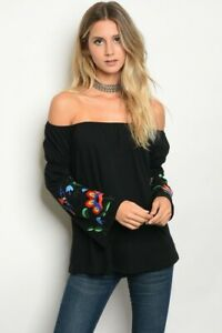 Va-Va-by-Joy-Han-Boho-Black-Embroidered-Bell-Sleeve-Off-Shoulder-Western-Top-S-M