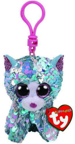 TY BEANIE BABIES FLIPPABLES WHIMSY BLUE CAT CLIP ON PLUSH SOFT TOY KEYRING NEW