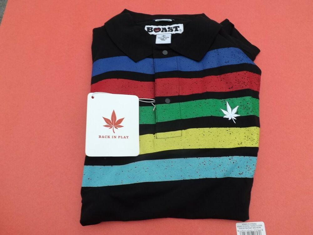 1 Neuf Avec étiquettes Se Vanter D'homme à Manches Courtes Polo Shirt Small Noir/rouge/bl/gr Avec Pot Leaf-r W/pot Leaf Fr-frafficher Le Titre D'origine