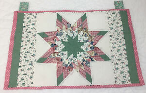 Patchwork Quilt Wall Hanging, Lone Star, Floral Calicos, Checks, Pink, Green