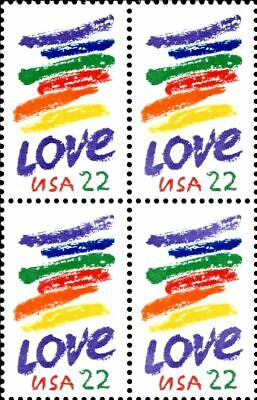 1985 LOVE MNH Block 4x22¢ STAMPS #2143 Corita Kent Rainbow Swash Boston Gas  Tank | eBay
