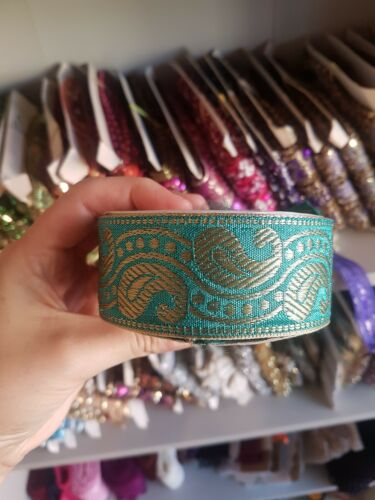 1m 38mm teal jacquard embroidered ribbon lace applique trimming decor