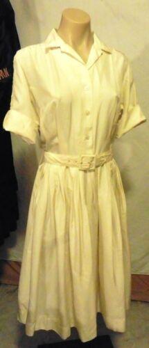 50s Cream Silk Shirt Day Dress by Norman Wiatt w/P