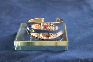Michael-Dawkins-Sterling-Silver-Beaded-Cuff-Bracelet-Wide-Heavy-6-1-4-034