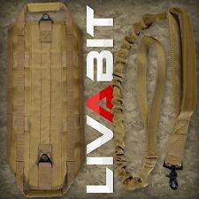 LIVABIT Tan Police K9 Dog Tactical Molle Vest Harness + Leash Medium
