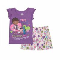 Doc Mcstuffins 2 Piece Shorts Set - Purple - Glitter Detailing -