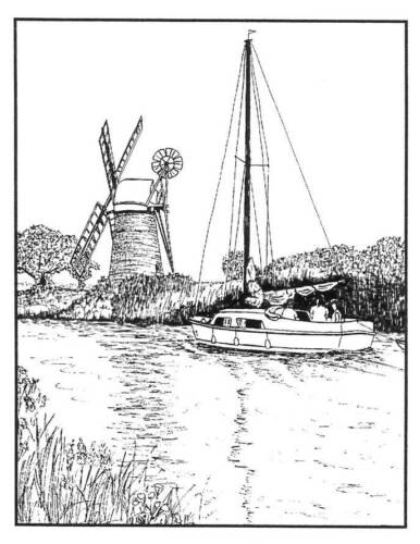 Framed Windmill /& Boat scene Unmounted Rubber Stamp SA-7176