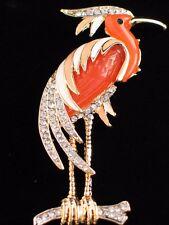 "PEACH ORANGE FLORIDA ISLAND LAKE EGRET CRANE HERON BIRD PIN BROOCH JEWELRY 3""LRG"