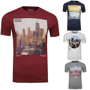JACK & JONES Herren T-Shirt Uptown Tee Regular Fit Crew Neck Skyline NY Print