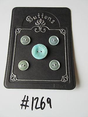 #1269 Lote De 5 Botones De Color Verde De Jade Paquetes De Moda Y Atractivos