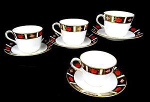 ROYAL-CROWN-DERBY-ENGLAND-4-A1314-OLD-IMARI-BORDER-2-5-034-CUP-amp-SAUCER-SETS-1985