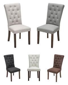 Details zu Esszimmerstuhl EMDEN Stoff Küchenstuhl Eiche Holz Polsterstuhl Stühle Hochlehner