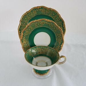 Vintage-3-Pieces-Cup-Saucer-Plate-Weimar-Porzellan-Germany-DORA-Green-Gold-Exc