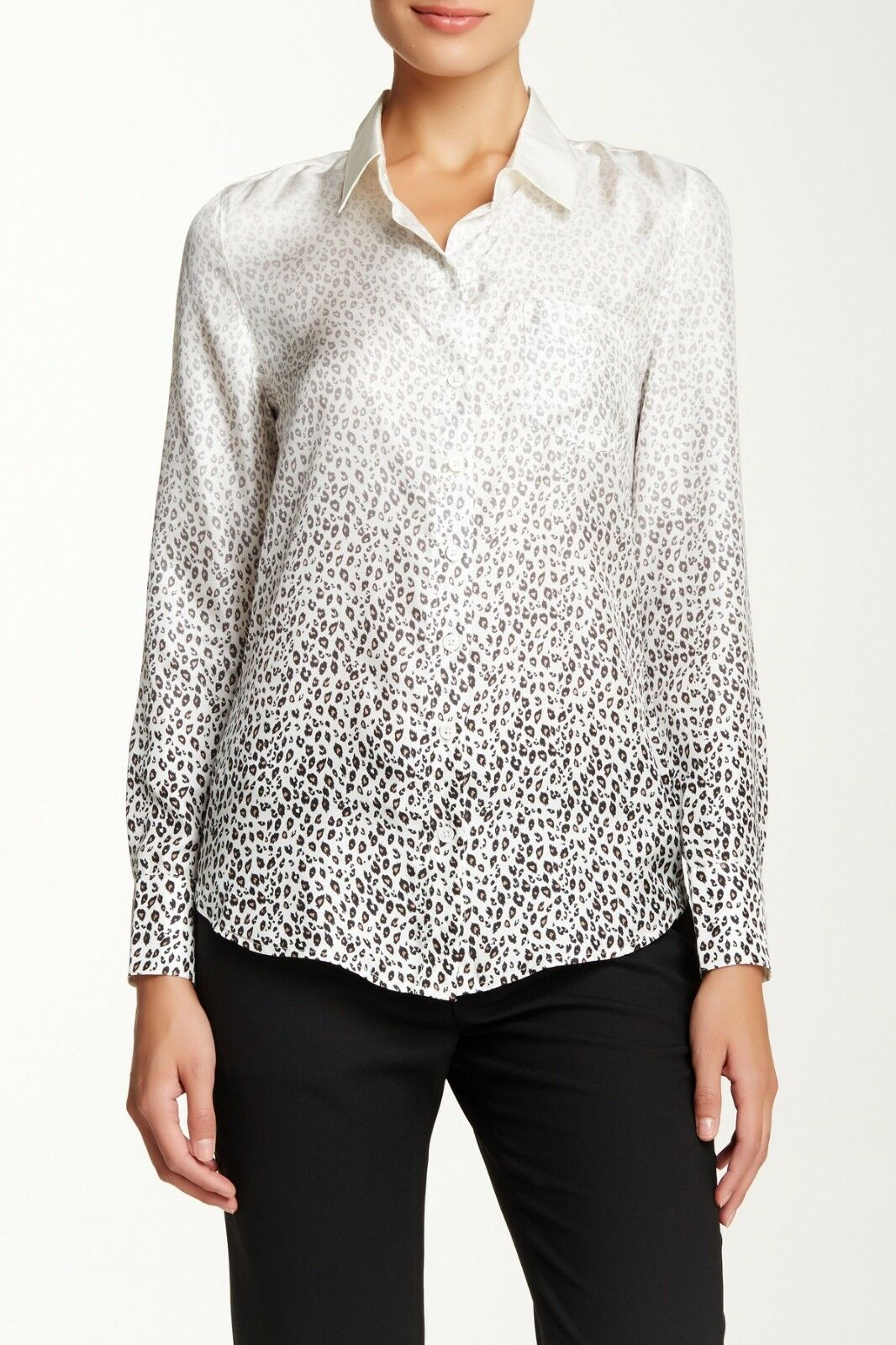 NEW Band of Outsiders Ombre Leopard Silk Easy Shirt