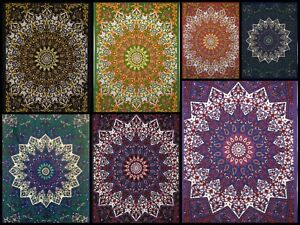 Peacock Mandala Poster Collage Small Tapestry Wall Hanging Cotton Wonderful Art