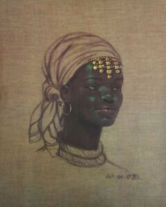 RARE-LITHOGRAPH-on-CANVAS-20x16-AFRICAN-WOMAN-W-M-Otto-NEW-OLD-STOCK-Crisp-Color
