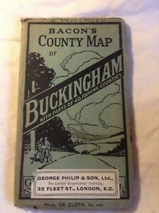 bacon039s county map of Buckingham1930039son cloth vg condition - polegate, United Kingdom - bacon039s county map of Buckingham1930039son cloth vg condition - polegate, United Kingdom
