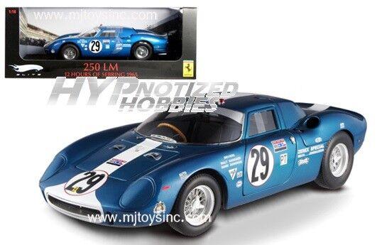 Hot Wheels 1 18 Elite Ferrari 250lm Sebring Daytona 1965 de Metal blu