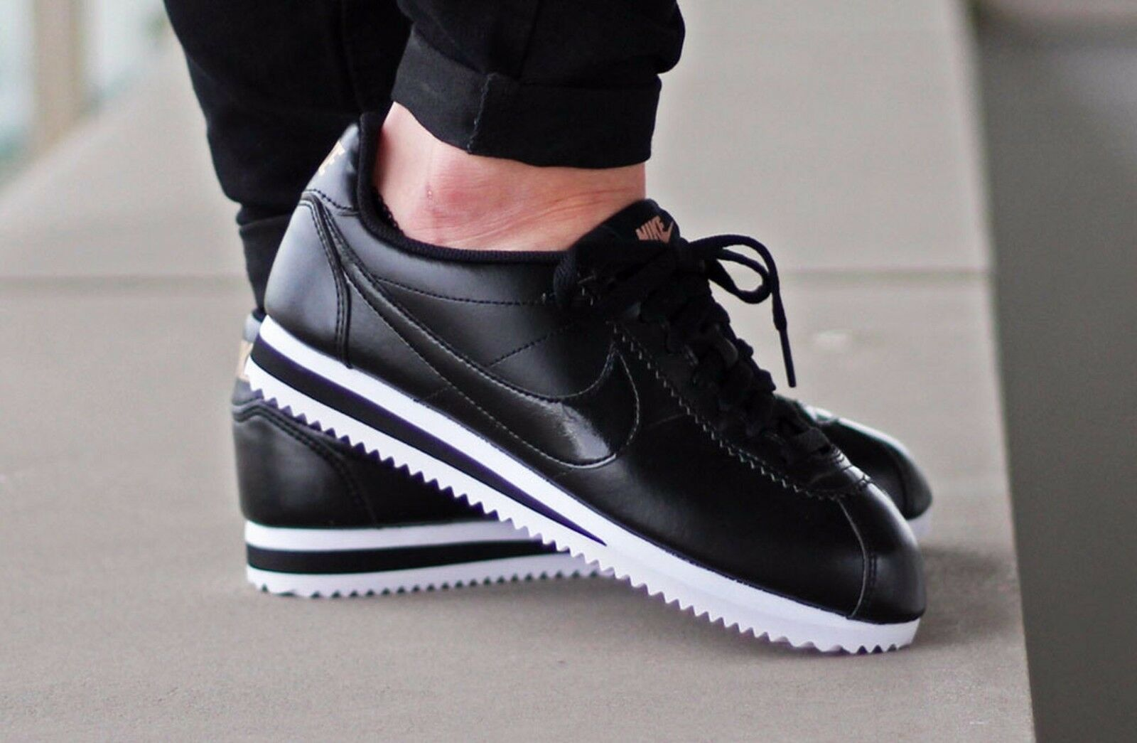 Nike cortez in cuoio nero classico wmns dimensioni 807471-009