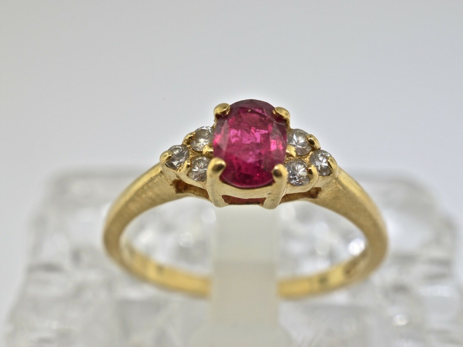 14k Ruby And Diamond Ring. Size 6