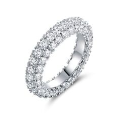 18K White Gold & Italian-Cut Cz 3 Row Eternity Ring