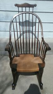 Details About Antique Mahogony Windsor Rocking Chair Comb Back Tweed Seat Karpen Furniture Co