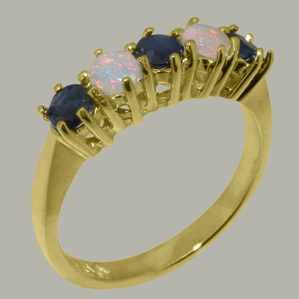 18ct 750 Yellow gold Natural Sapphire & Opal Womens Eternity Ring - Sizes J to Z