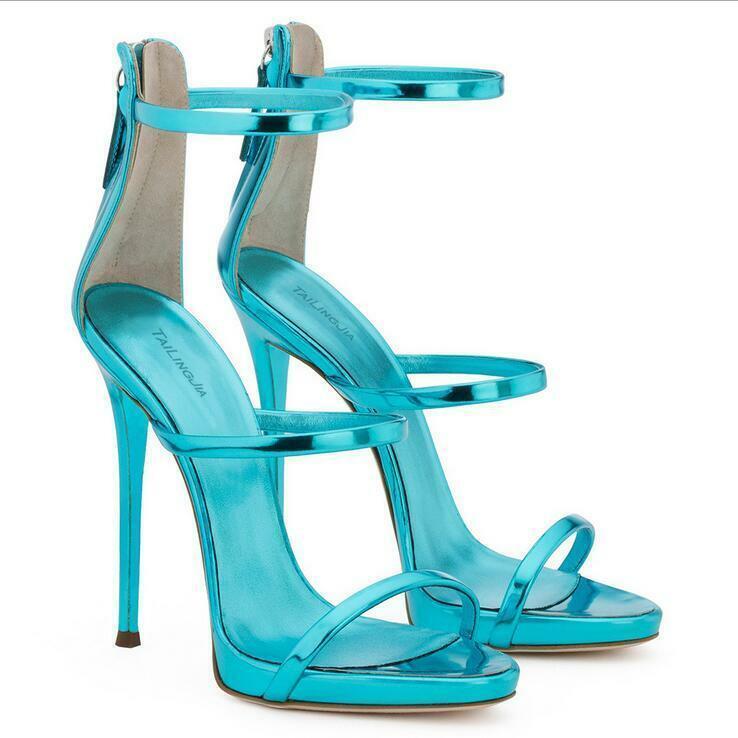 Gr.34 46 Sommer Damen Reißverschluß Abendlich Pumps High Stilettos Heels Sandals