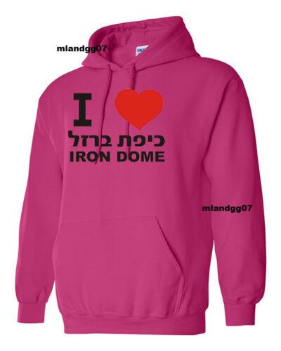 I love Iron Dome Support Israel Sweatshirt IDF Zahal Hebrew Hoodie SIZES S-XL