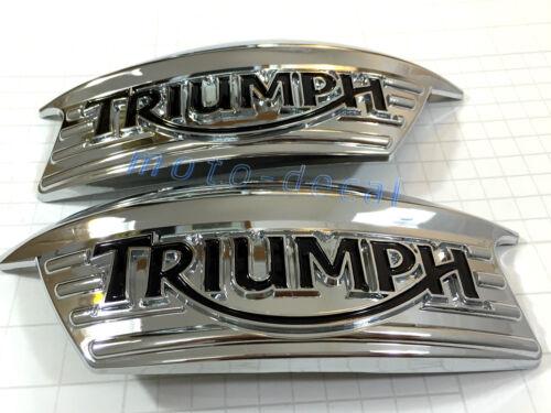 New Triumph T100 Classic Bonneville Thruxton 900 Chrome Tank Plastic Badge Decal