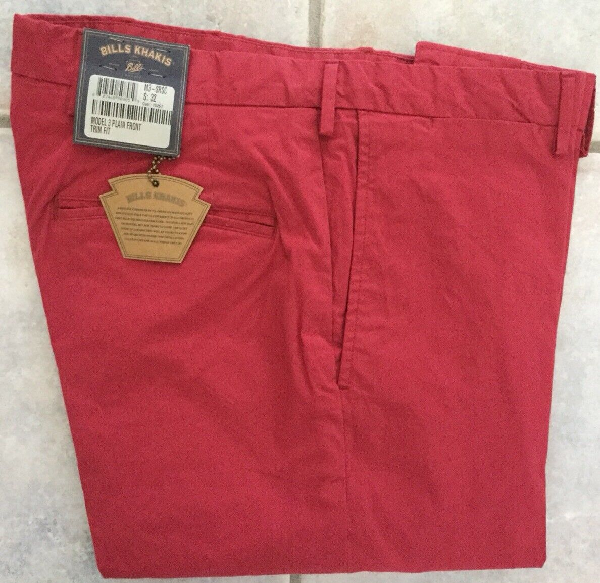 NWT -Bills khakis M3-SRSC Size 36 TRIM FIT PLAIN COTTON Red MSRP