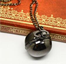 Antique Vintage Bronze Ball Steampunk Pocket Watch Necklace Pendant Chain Men's