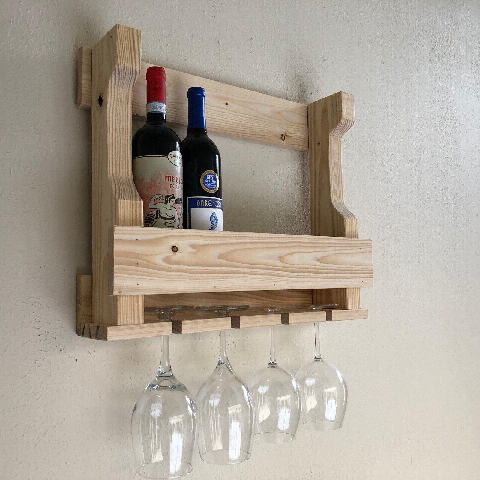 Wall Hanging casier à vin, porte-verre, rustique Moderne Mural Casier à vin