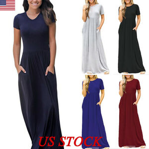 Womens-Oversize-Summer-Loose-Short-Sleeve-Soild-Casual-Long-Maxi-Dress-Plus-Size