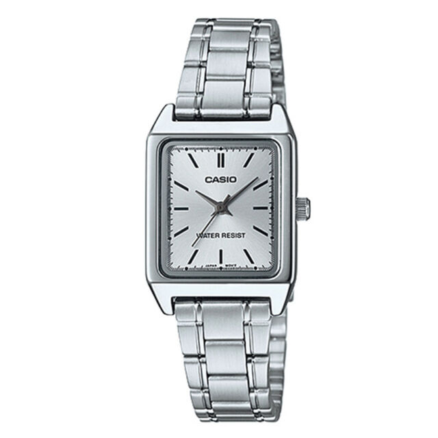 9ef855a7e Casio Ltp-v007d-7e Square White Dial Stainless Steel Casual Ladies Watch