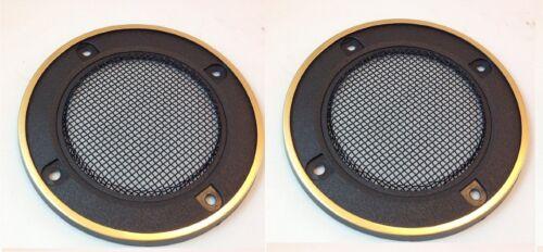 "3-1//2/"" ROUND SPEAKER GRILLS PLASTIC METAL MESH-GOLD TRIM 5 PAIR #ZSGG31SML-5PR"