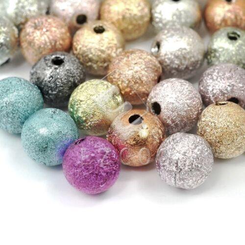 130Stk Acryl Rund Stardust Perlen Perlen Gemischt DIY Schmuck Basteln 6x6x6mm