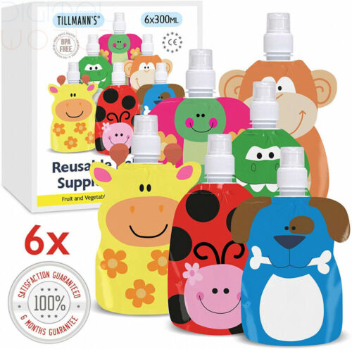 TILLMANN/'S Reusable Smoothie Pouches 6 Pack 300mlwith...
