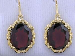E092-Genuine-9K-18K-Solid-Gold-Large-Natural-Gem-Drop-Earrings-Victorian-scrolls