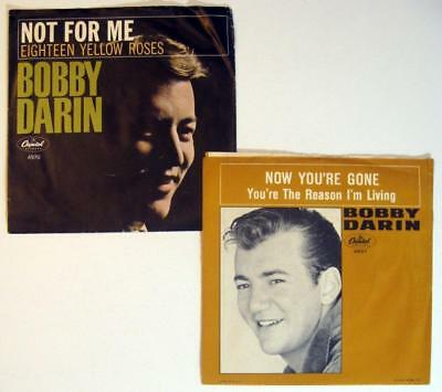 Music Frugal Bobby Darin ~ 18 Yellow Roses & You're The Reason I'm Living ~ Picture Sleeves