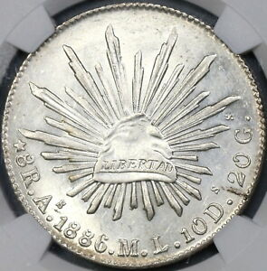 1886-As-NGC-MS-62-MEXICO-8-Reales-Rare-Alamos-Silver-Coin-POP-2-1-18070702C