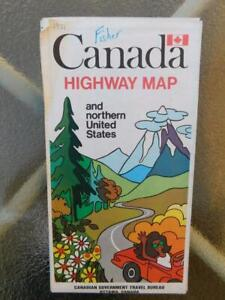 CANADA-HIGHWAY-ROAD-MAP-amp-NORTHERN-UNITED-STATES-VINTAGE-ADVERTISING-1971
