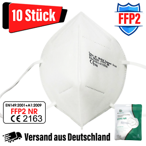 10x FFP2 Maske 5-lagig zertifiziert Atemschutz Mundschutz Masken Gesichtsschutz