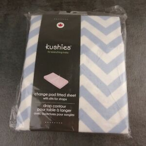 Details about Kushies Baby Change Pad Fitted Sheet Strap Slits Blue White  Chevron Zig Zag