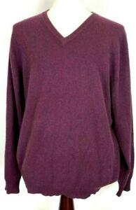 Club-Room-estate-100-cashmere-mens-sweater-size-XL-plum-v-neck-long-sleeve
