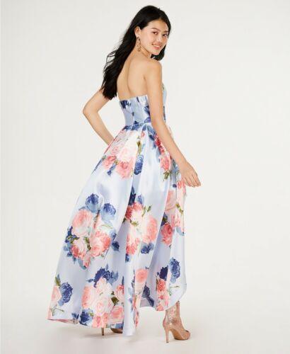 New $309 Speechless Juniors/' Women/'S Blue Floral Strapless Hi-Low Gown Dress 9