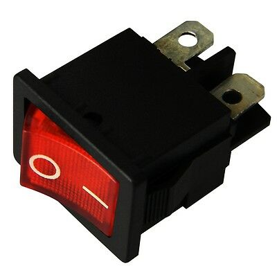 EIN-AUS schaltend Mini-Schalter ROT beleuchtet 230V /_10x Wippschalter rund