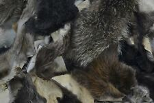 Fur Scrap Fox Coyote Raccoon Beaver craft pieces 1 pound mix small Skins