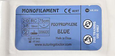 2-0 3-0 4-0 5-0 6-0 POLYPROPYLENE 75cm SUTURES 18mm TRAINING USE 12pcs BRAND NEW