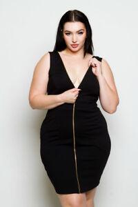 Details about Plus Size Sleeveless Mesh Sides Front Zip Bodycon Mini Dress  Black (1X, 2X, 3X)